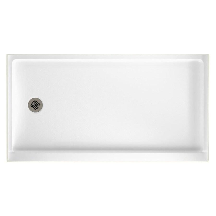 Swanstone Veritek White Fiberglass and Plastic Composite Shower Base (Common: 32-in W x 60-in L; Actual: 32-in W x 60-in L)