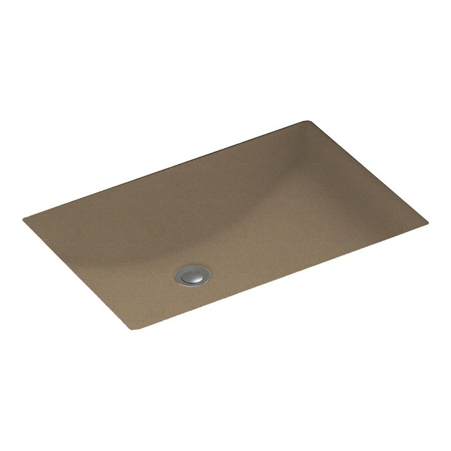 Swanstone Barley Solid Surface Undermount Rectangular Bathroom Sink with Overflow