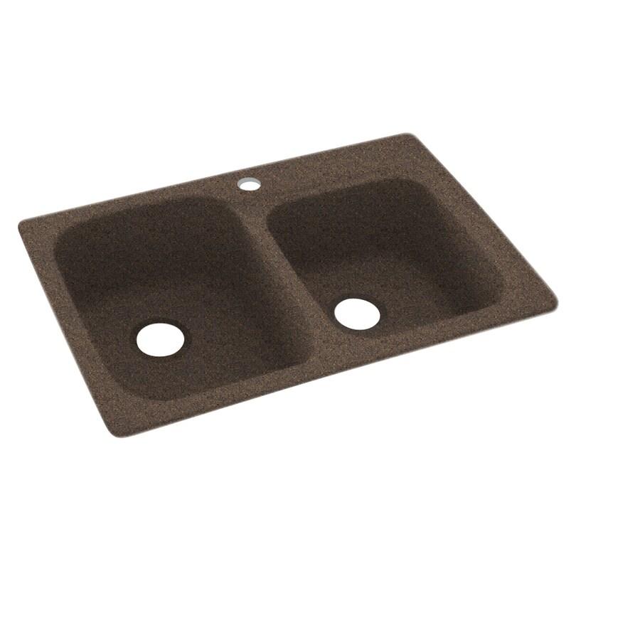 Swanstone 33-in x 22-in Sierra Double-Basin Composite Drop-In 1-Hole Residential Kitchen Sink