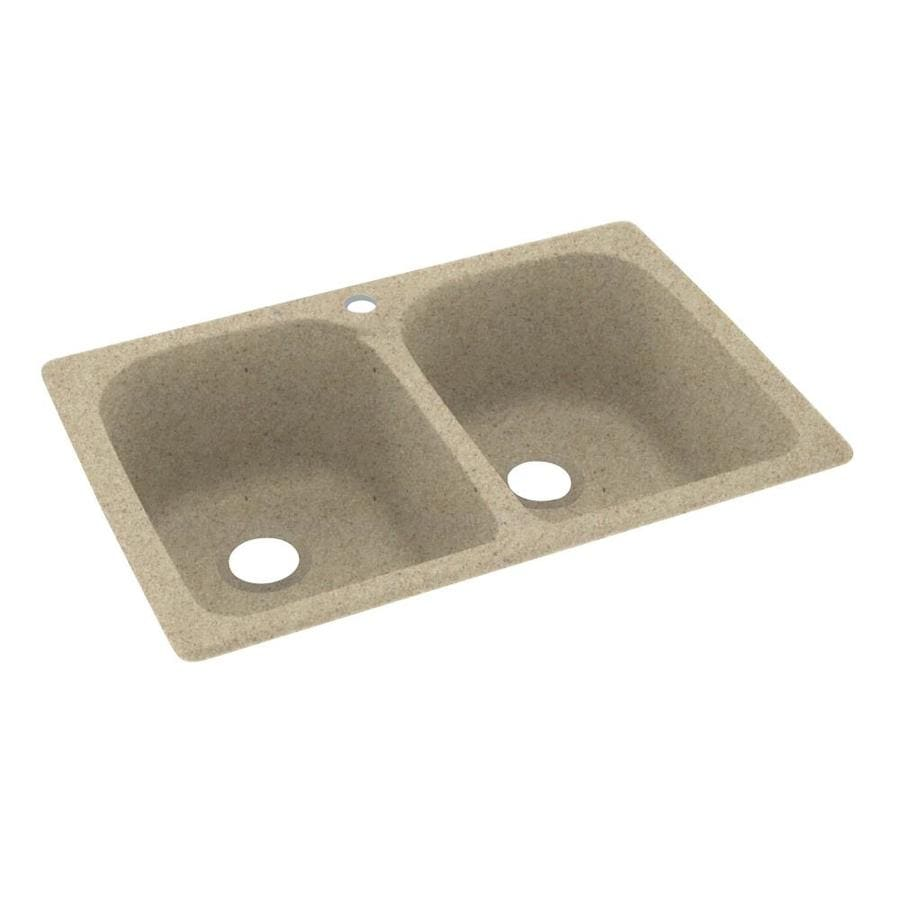 Swanstone 33-in x 22-in Prairie Double-Basin Composite Drop-in 1-Hole Residential Kitchen Sink
