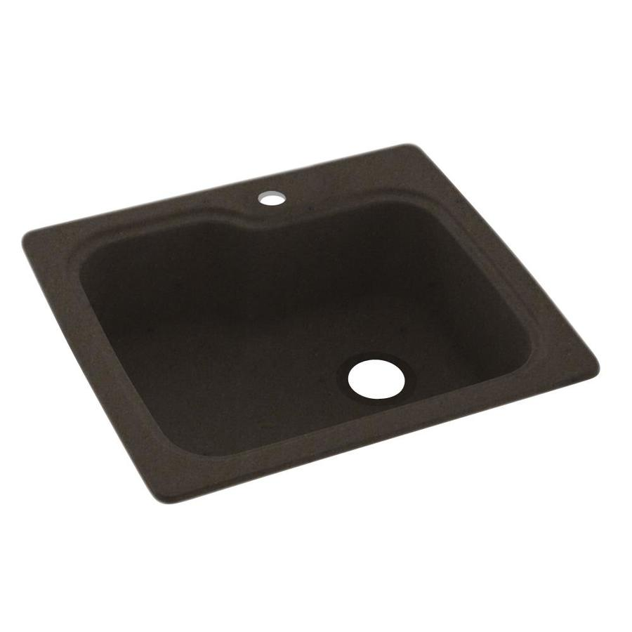 Swanstone 25-in x 22-in Canyon Single-Basin Composite Drop-in 1-Hole Residential Kitchen Sink