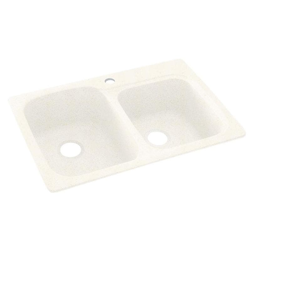 Swanstone 33-in x 22-in Baby's Breath Double-Basin Composite Drop-in 1-Hole Residential Kitchen Sink