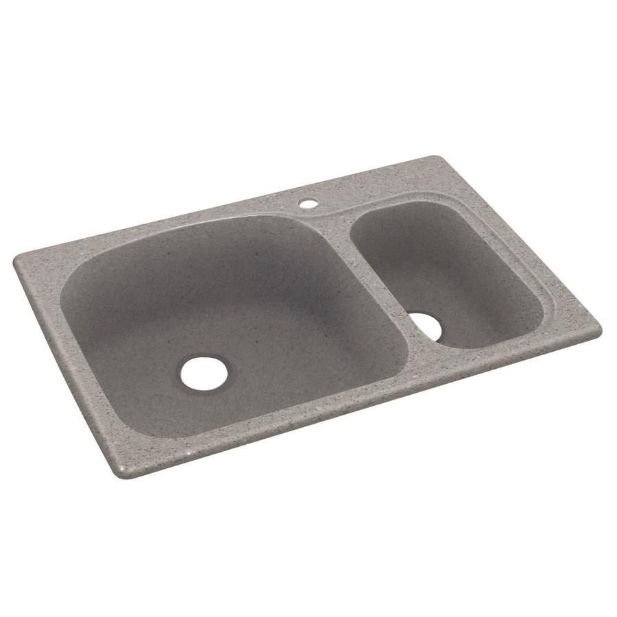 Swanstone 33-in x 22-in Canyon Double-Basin Composite Drop-in 1-Hole Residential Kitchen Sink
