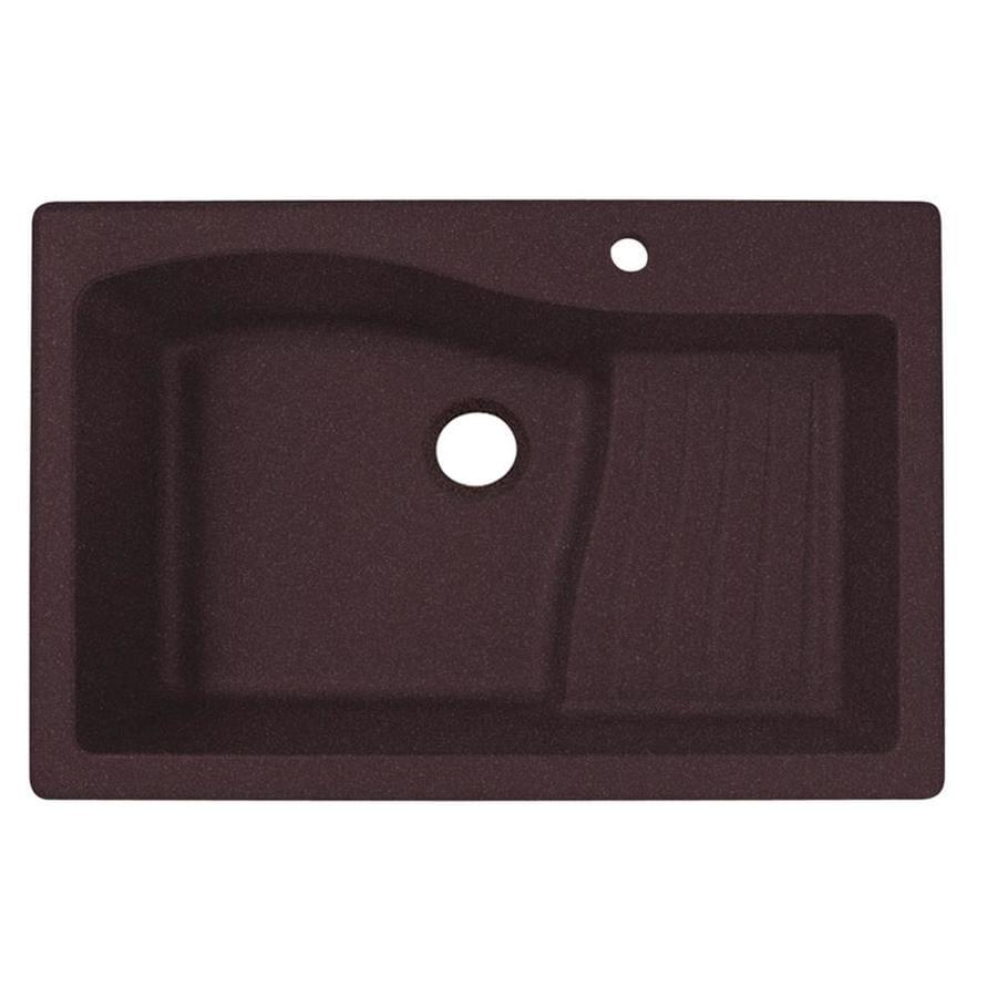 Swanstone 22-in x 33-in Espresso Single-Basin Granite Drop-in or Undermount 1-Hole Residential Kitchen Sink Drainboard Included