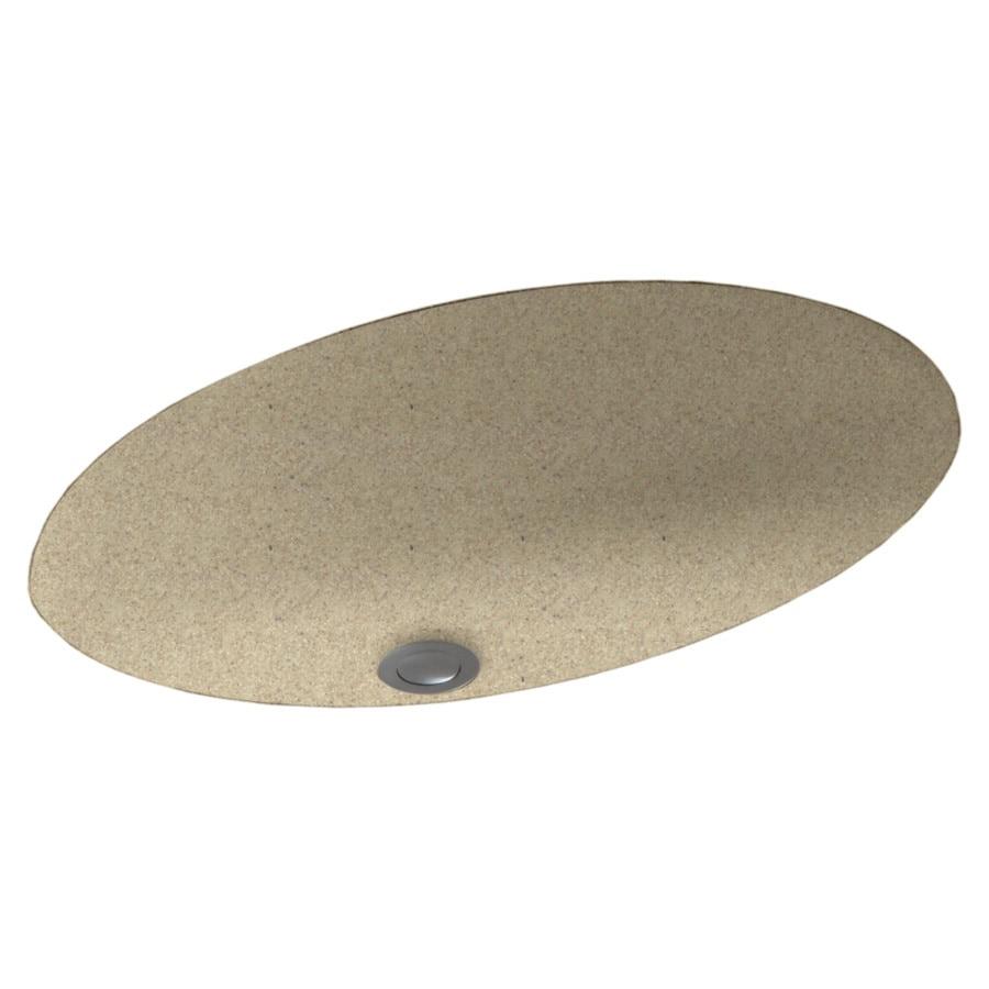 Swanstone Prairie Solid Surface Undermount Oval Bathroom Sink with Overflow