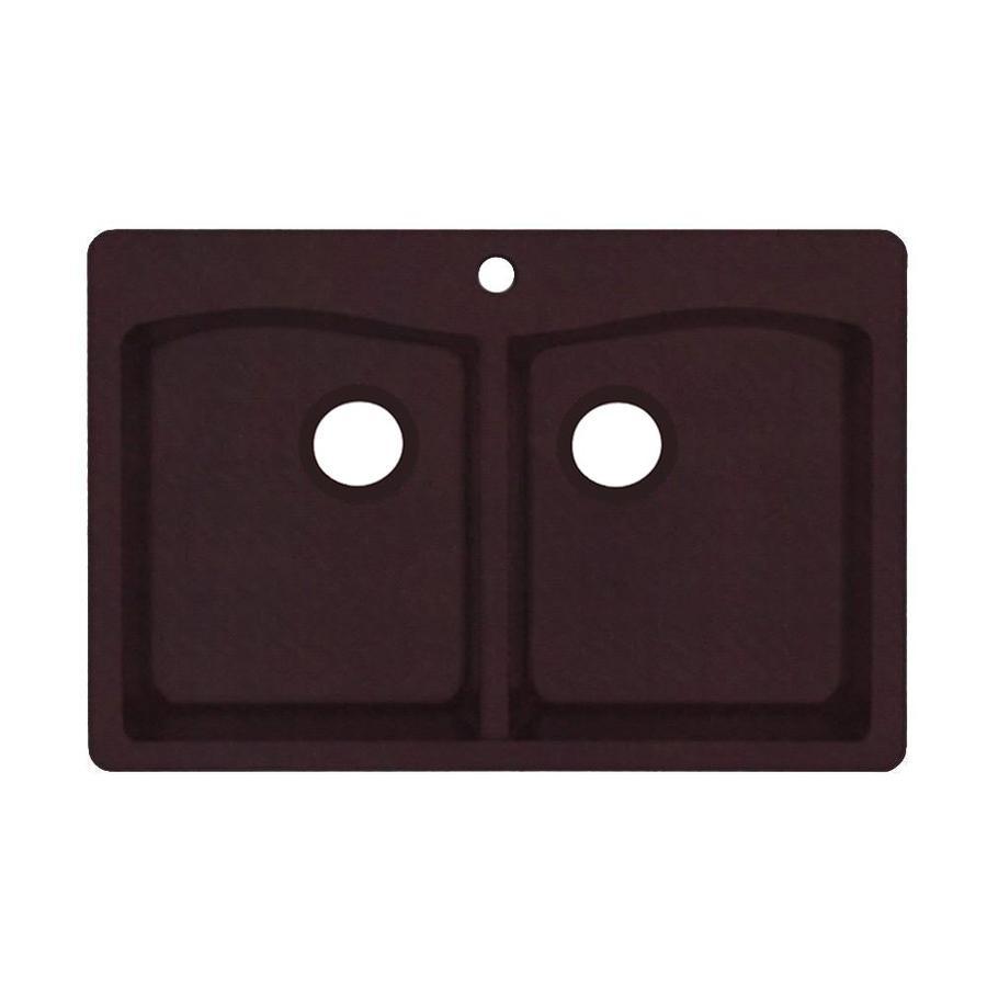 Swanstone 22-in x 33-in Espresso Double-Basin Granite Drop-in or Undermount 1-Hole Residential Kitchen Sink