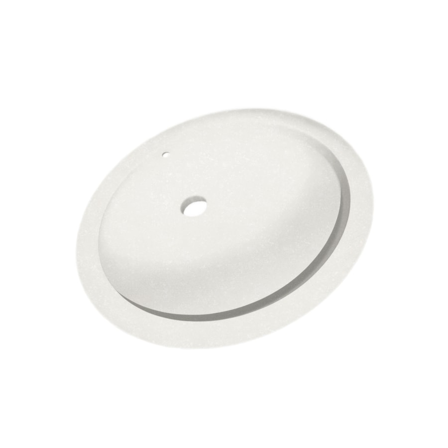 Swanstone Tahiti Ivory Solid Surface Undermount Oval Bathroom Sink with Overflow