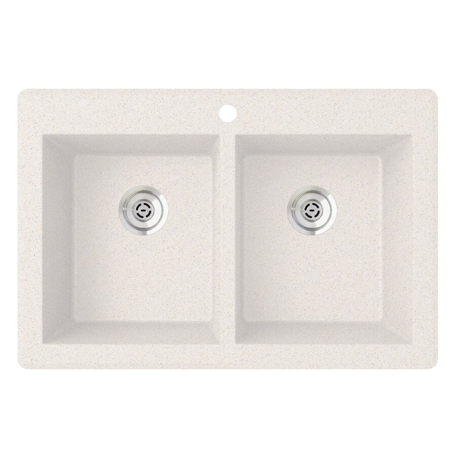 SWAN 22-in x 33-in Bianca Double-Basin Granite Drop-in or Undermount 1-Hole Residential Kitchen Sink