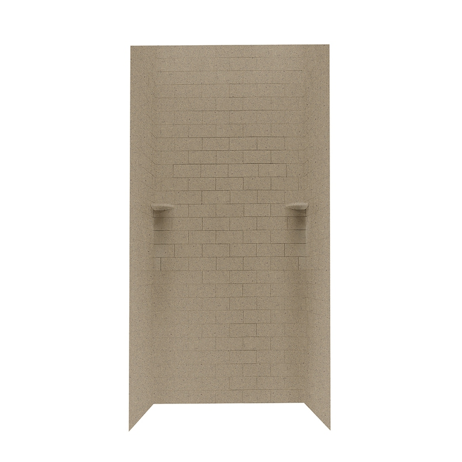 shop swanstone barley solid surface shower wall surround side and back panels common 36 in. Black Bedroom Furniture Sets. Home Design Ideas