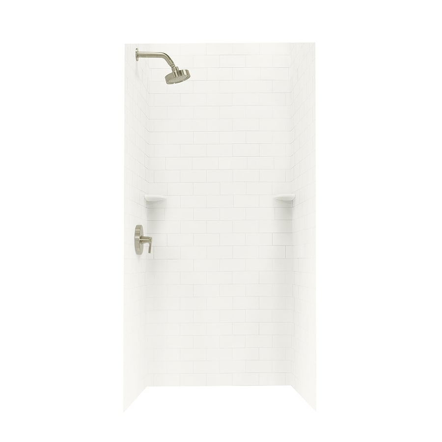 shop swanstone bisque solid surface shower wall surround side and back panels common 36 in. Black Bedroom Furniture Sets. Home Design Ideas