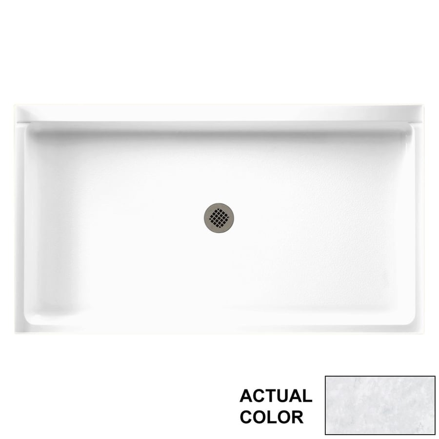 Swanstone Ice Solid Surface Shower Base (Common: 60-in W x 34-in L; Actual: 60.375-in W x 34.1875-in L)