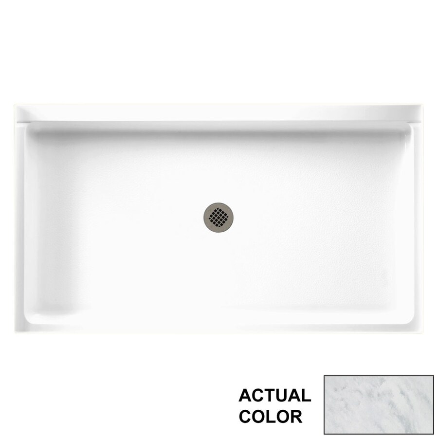Swanstone Tundra Solid Surface Shower Base (Common: 60-in W x 34-in L; Actual: 60.375-in W x 34.1875-in L)