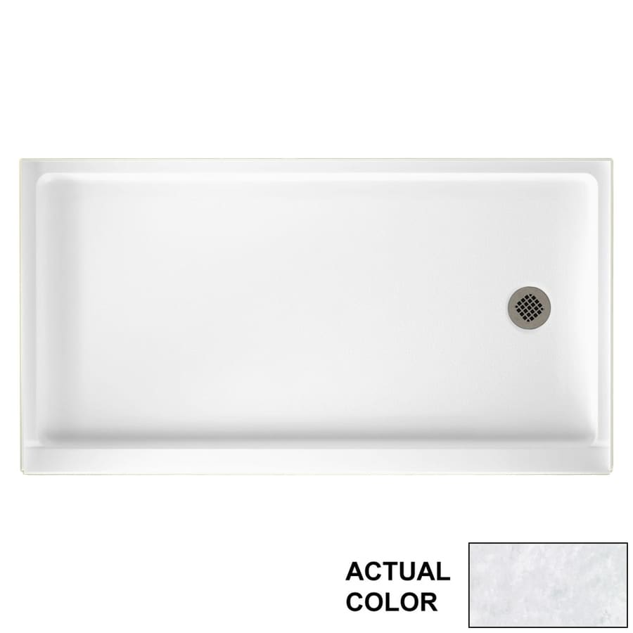Swanstone Ice Solid Surface Shower Base (Common: 60-in W x 32-in L; Actual: 60.375-in W x 32.1875-in L)