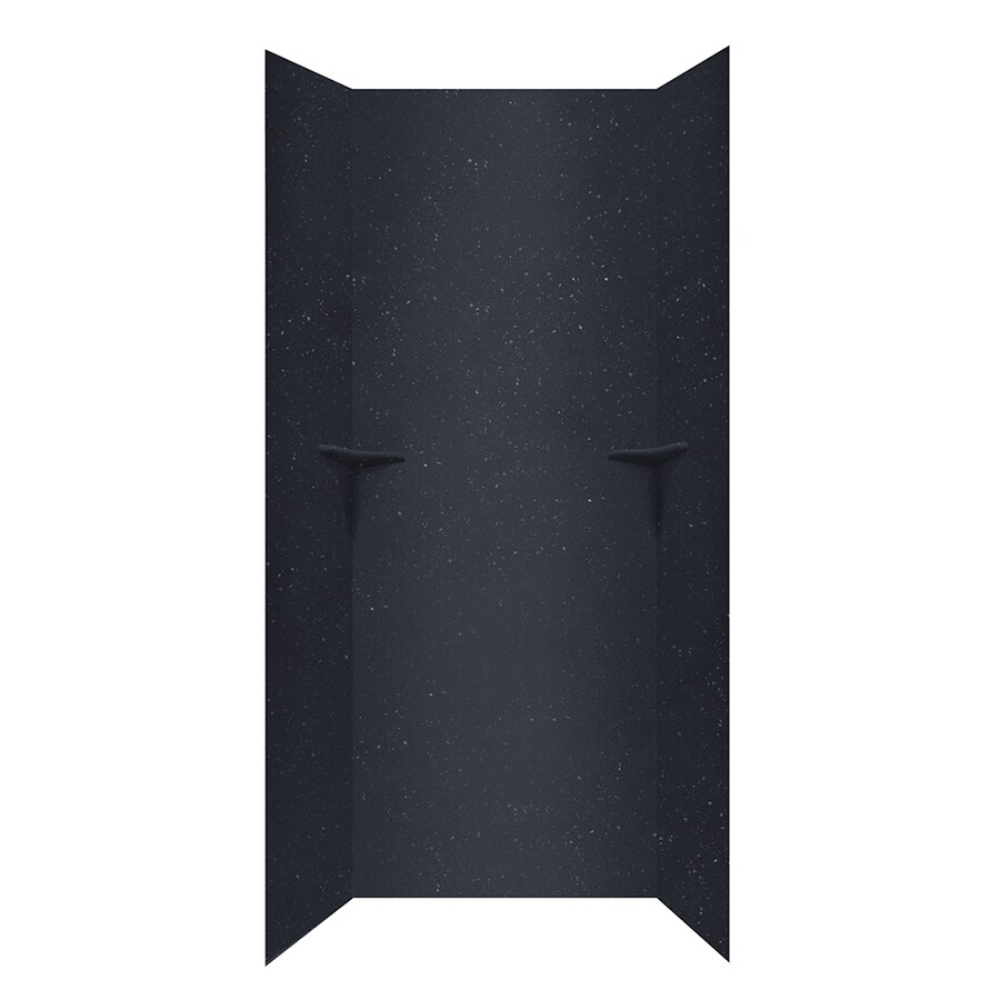 Swanstone Crystal Black Shower Wall Surround Side and Back Panels (Common: 36-in; Actual: 96-in x 36-in)