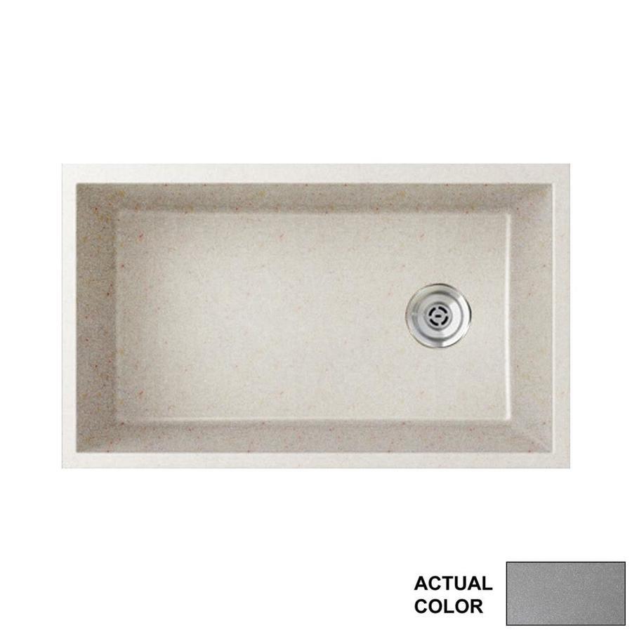 Swanstone 19.25-in x 31.875-in Metallico Single-Basin Granite Undermount Residential Kitchen Sink