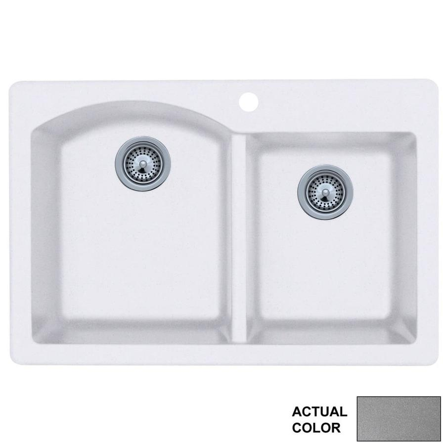 Swanstone 22-in x 33-in Metallico Double-Basin Granite Drop-in or Undermount 1-Hole Residential Kitchen Sink