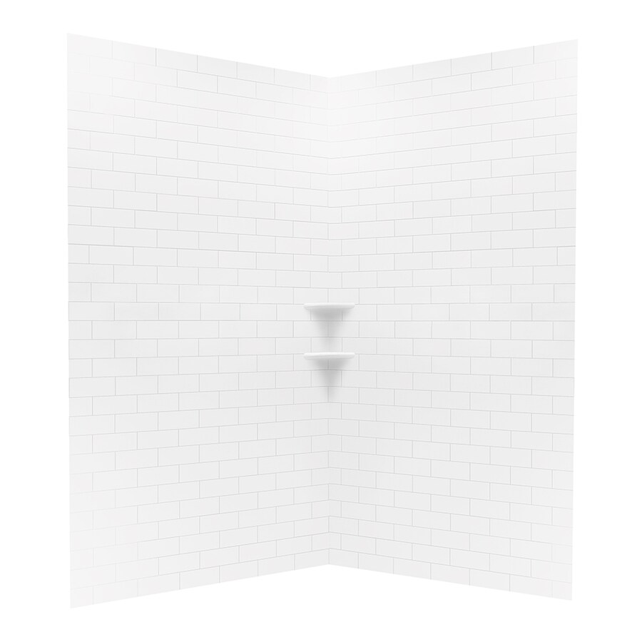 Swanstone Bright White Shower Wall Surround Corner Wall Panel (Common: 48-in; Actual: 96-in x 48-in)