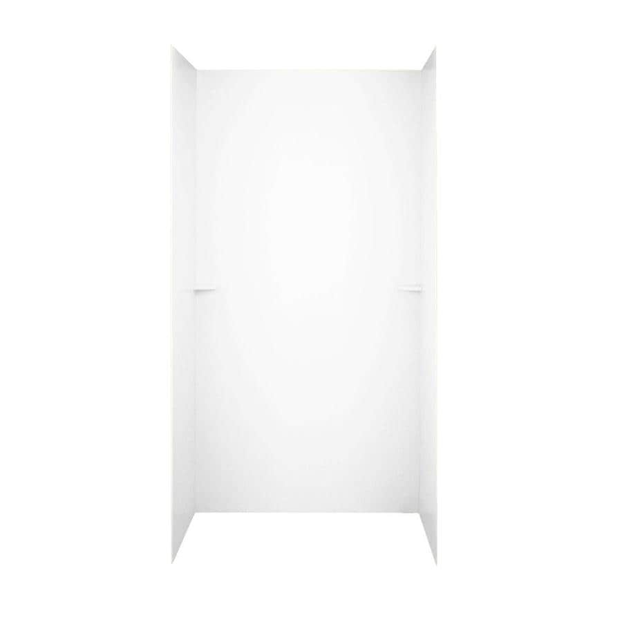shop swanstone white solid surface shower wall surround side and back panels common 48 in x 36. Black Bedroom Furniture Sets. Home Design Ideas