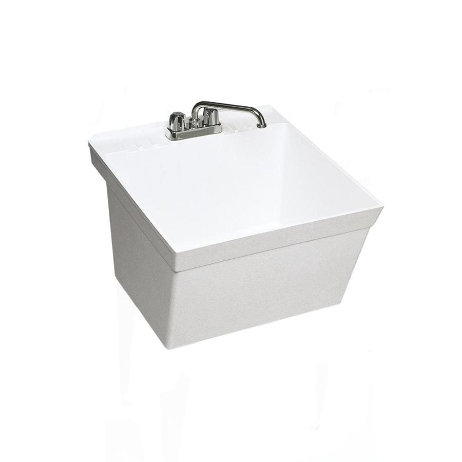 Swanstone 21.625-in x 23.375-in 1-Basin White Wall Mount Composite Utility Tub with Drain