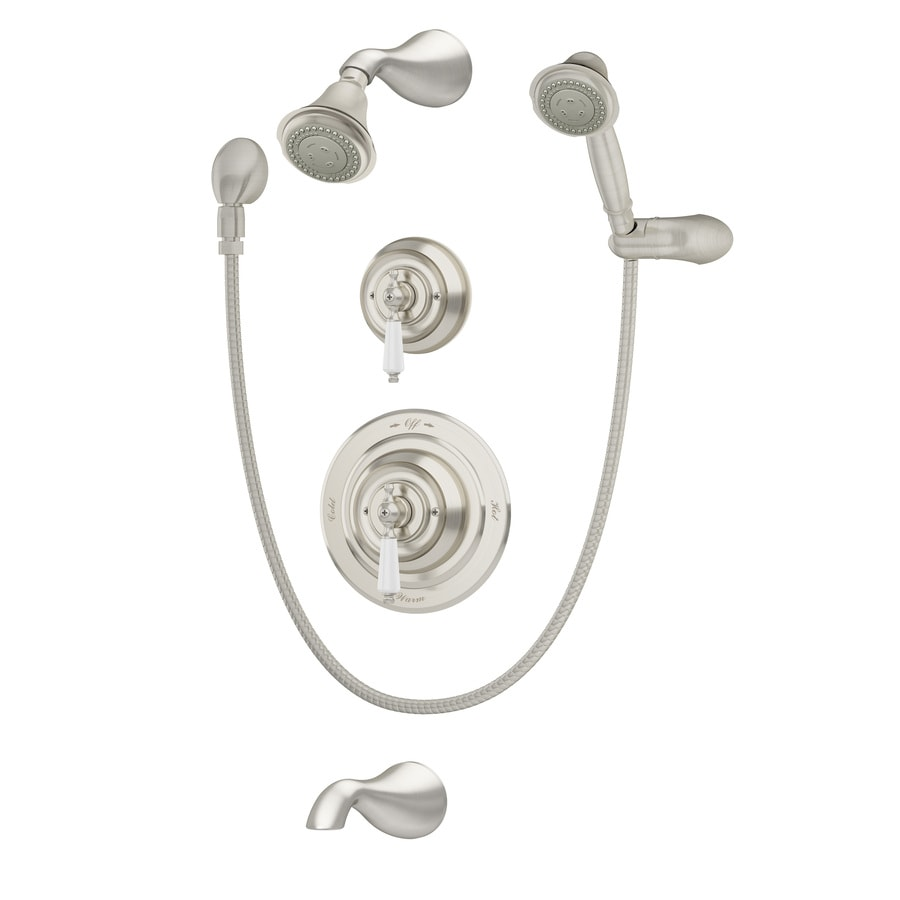 Symmons Carrington Satin Nickel 1-Handle Bathtub and Shower Faucet with Multi-Function Showerhead
