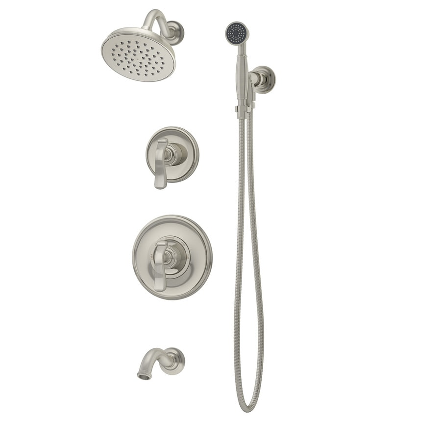 Symmons Winslet Satin Nickel 1-Handle Bathtub and Shower Faucet with Single Function Showerhead