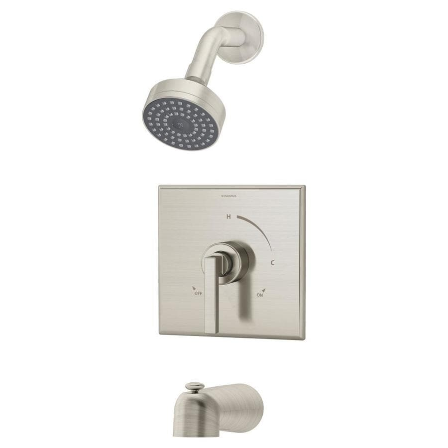 Symmons Duro Satin Nickel 1-Handle Bathtub and Shower Faucet Trim Kit with Single Function Showerhead