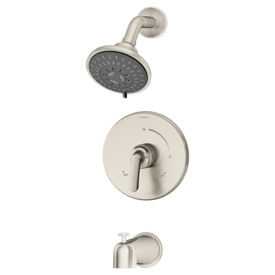 Symmons Elm Satin Nickel 1-Handle Bathtub and Shower Faucet with Multi-Function Showerhead