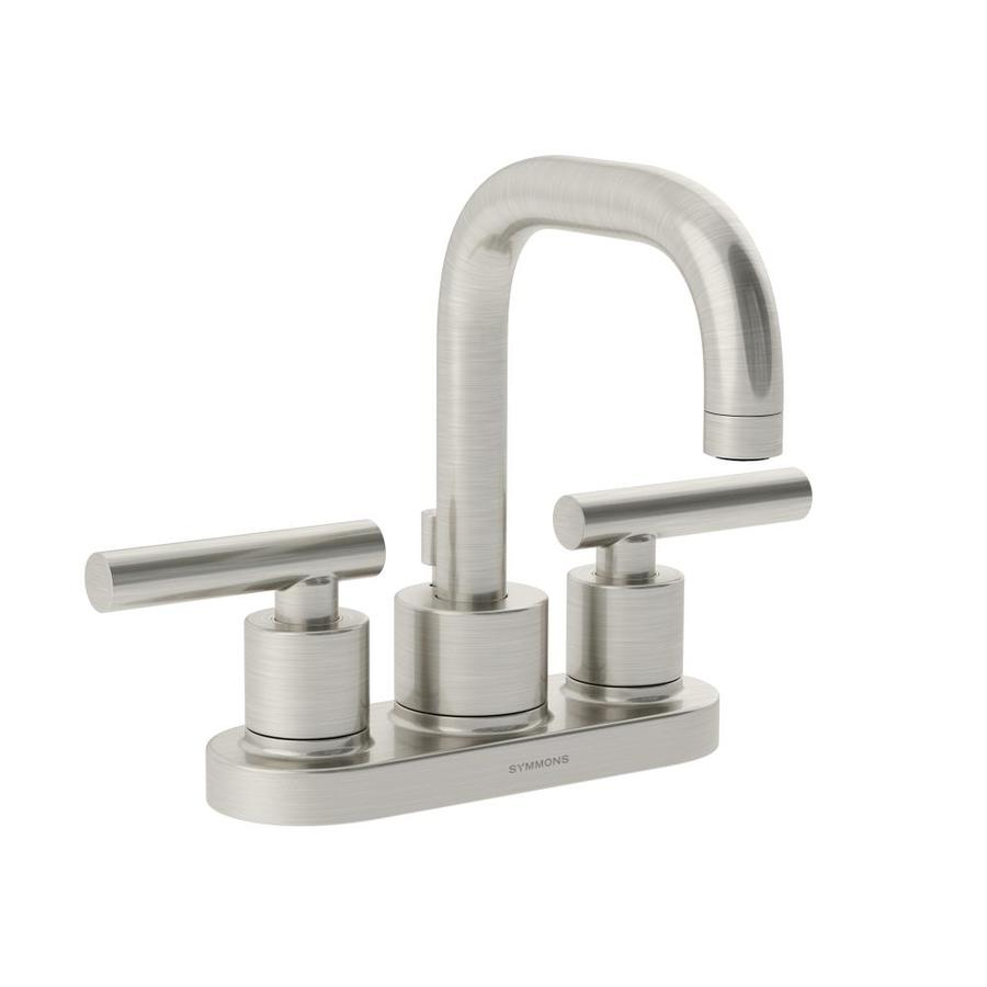 Shop symmons dia satin nickel 2 handle 4 in centerset for Bathroom faucets lowes
