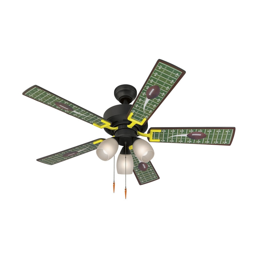 Harbor Breeze Football 48-in Matte Black Downrod Mount Indoor Ceiling Fan with Light Kit