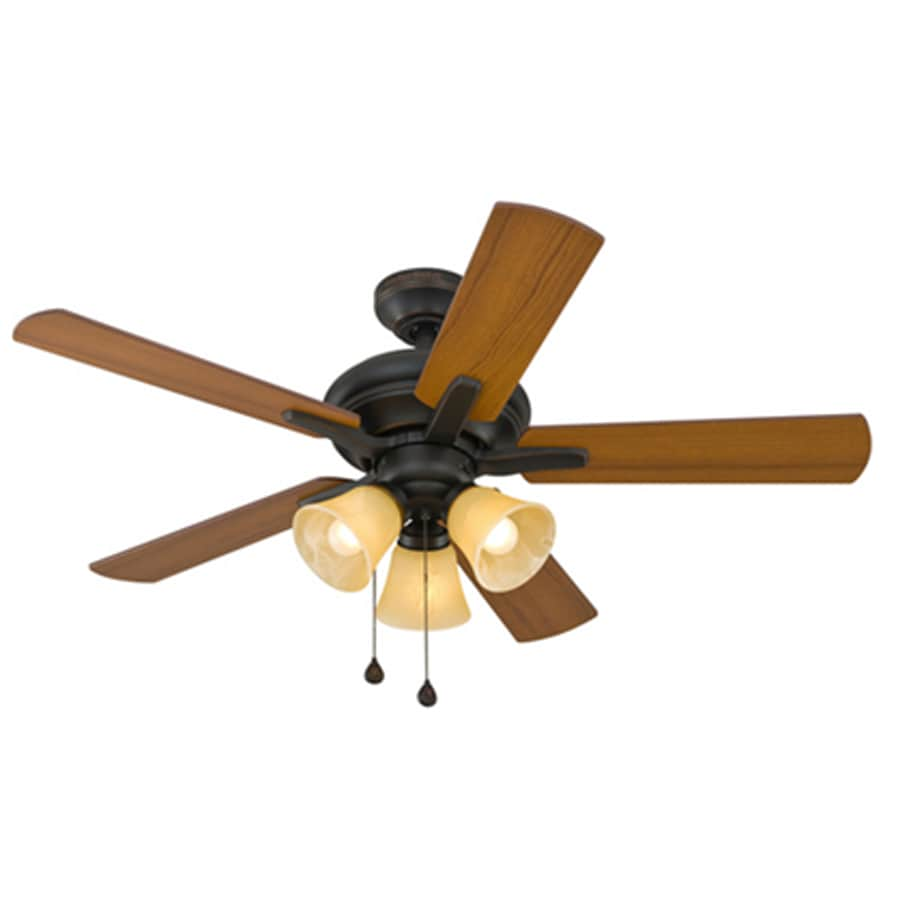 Harbor Breeze Lansing 42-in Aged Bronze Downrod or Close Mount Indoor Ceiling Fan with Light Kit