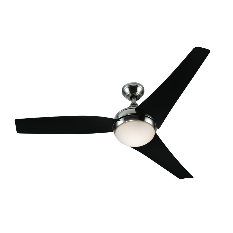 Harbor Breeze Belleisle Bay 52-in Brushed Nickel Downrod or Close Mount Indoor Ceiling Fan with Light Kit and Remote (3-Blade)