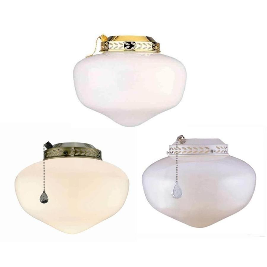 Harbor Breeze 1-Light White and Antique Brass Incandescent Ceiling Fan Light Kit with Frosted Glass