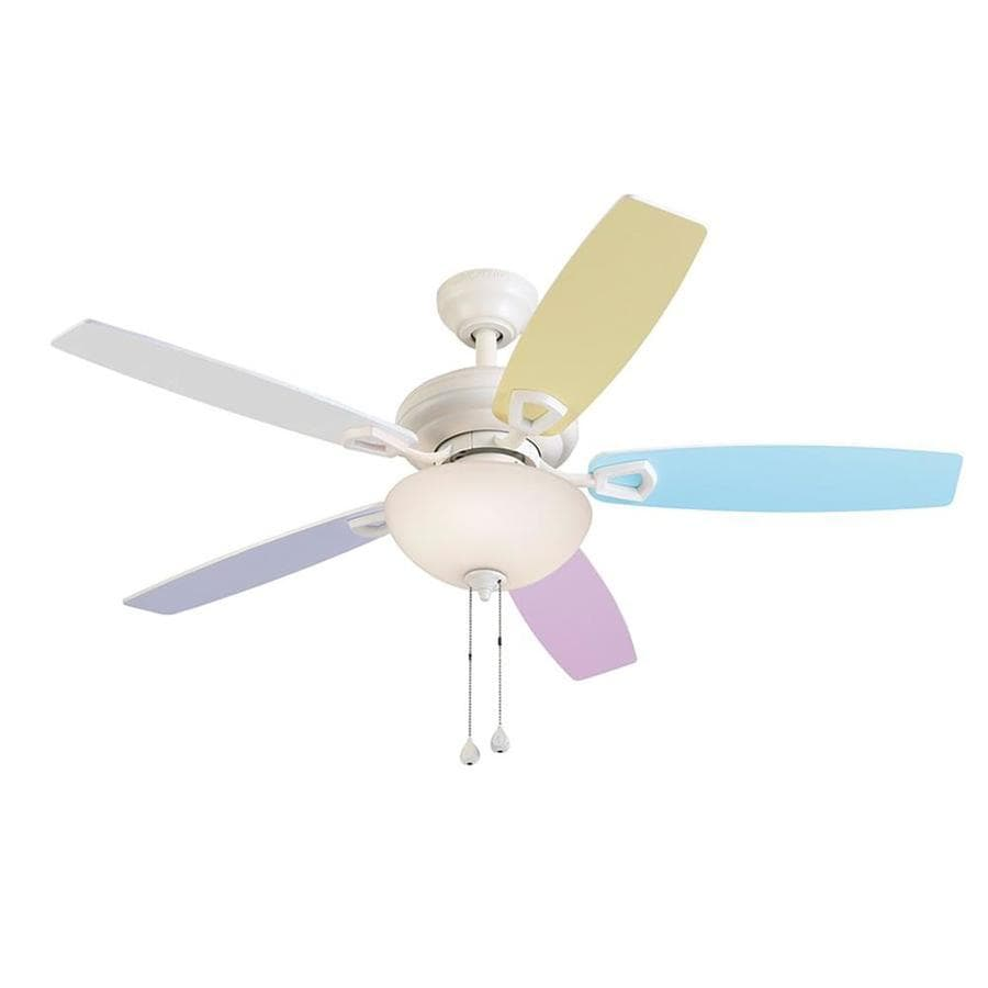 Harbor Breeze Katelyn 44-in White Downrod or Close Mount Indoor Ceiling Fan with Light Kit