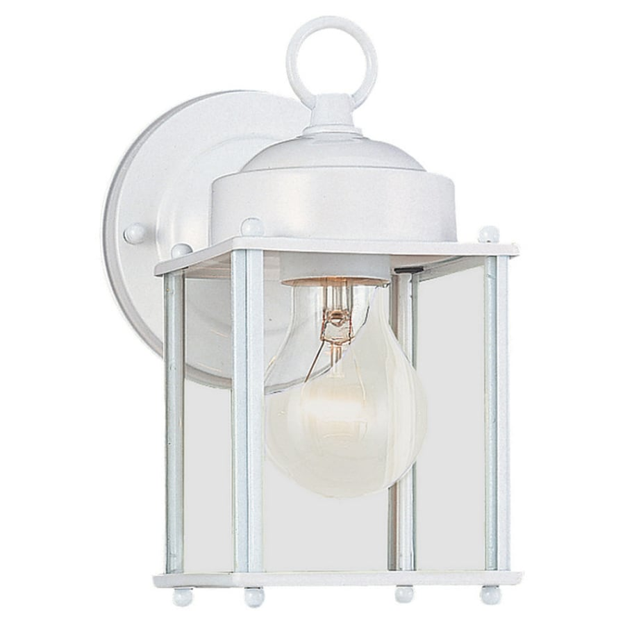 shop portfolio h white outdoor wall light at. Black Bedroom Furniture Sets. Home Design Ideas