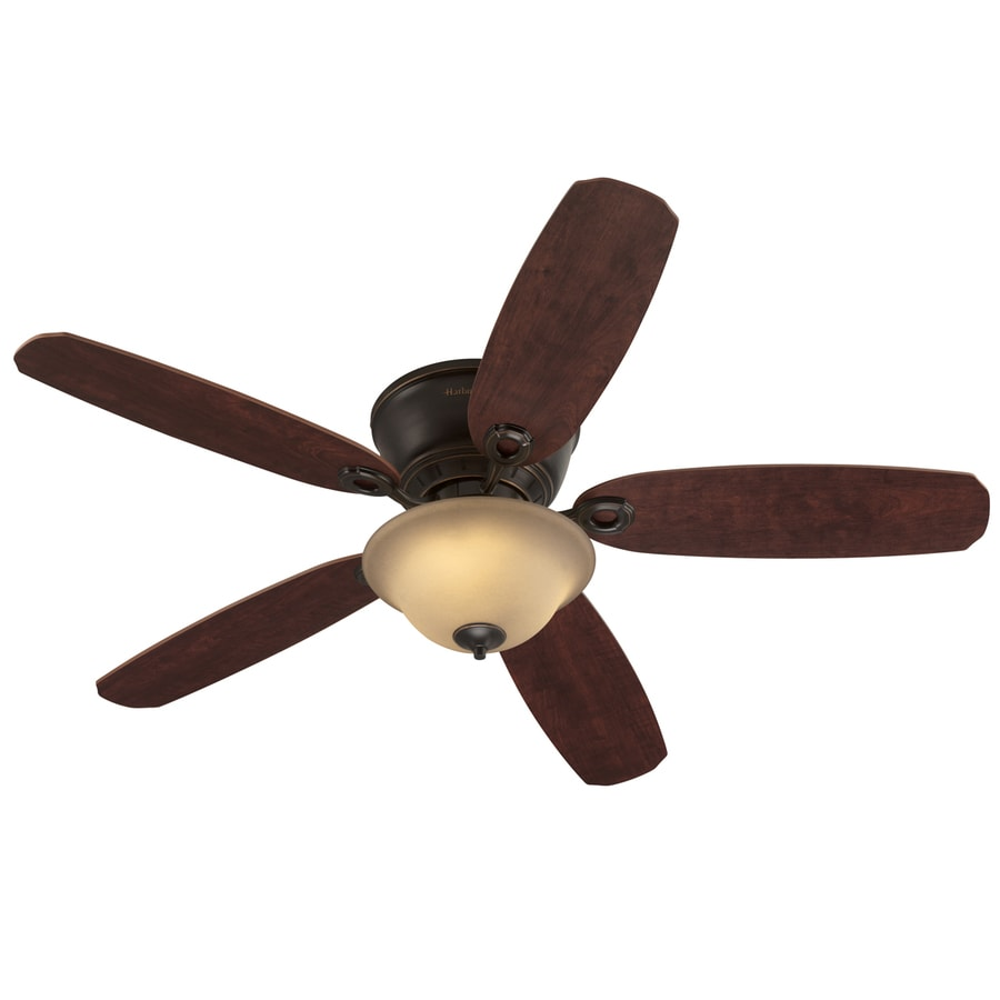 Harbor Breeze Pawtucket 52-in Oil Rubbed Bronze Flush Mount Indoor Ceiling Fan with Light Kit and Remote