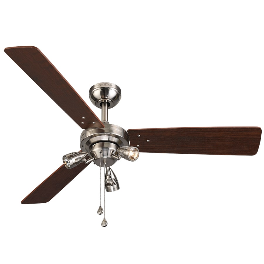 Harbor Breeze Exocet 48-in Brushed Nickel Downrod or Close Mount Indoor Ceiling Fan with Light Kit (3-Blade)