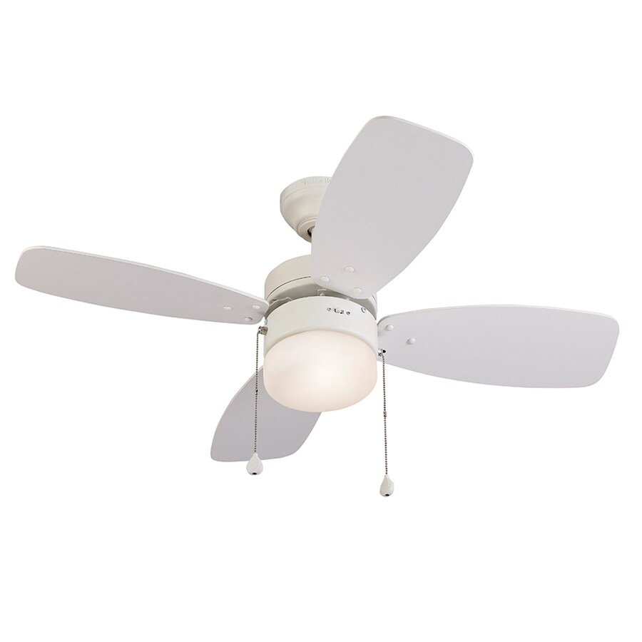 Shop harbor breeze riverview 36 in white downrod or close mount indoor ceiling fan with light - Ceiling fan short blades ...
