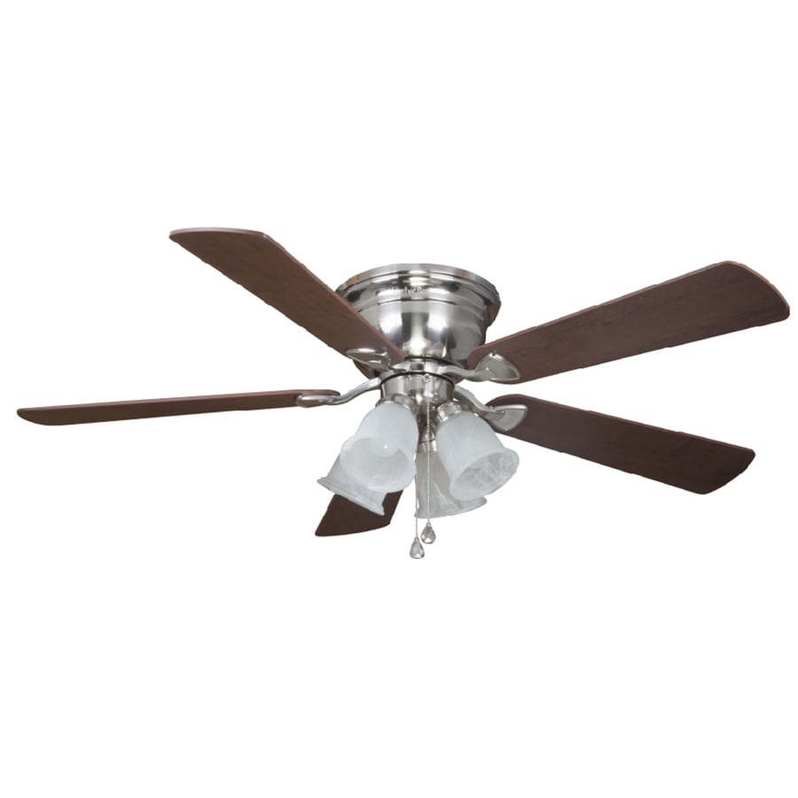 Shop Harbor Breeze Centerville 52 In Brushed Nickel Flush Mount Indoor Ceiling Fan With Light