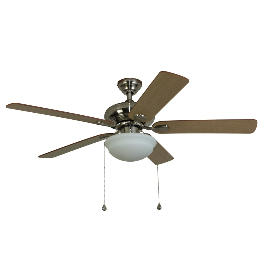 Harbor Breeze Caratuk River 52-in Brushed Nickel Downrod or Close Mount Indoor Ceiling Fan with Light Kit