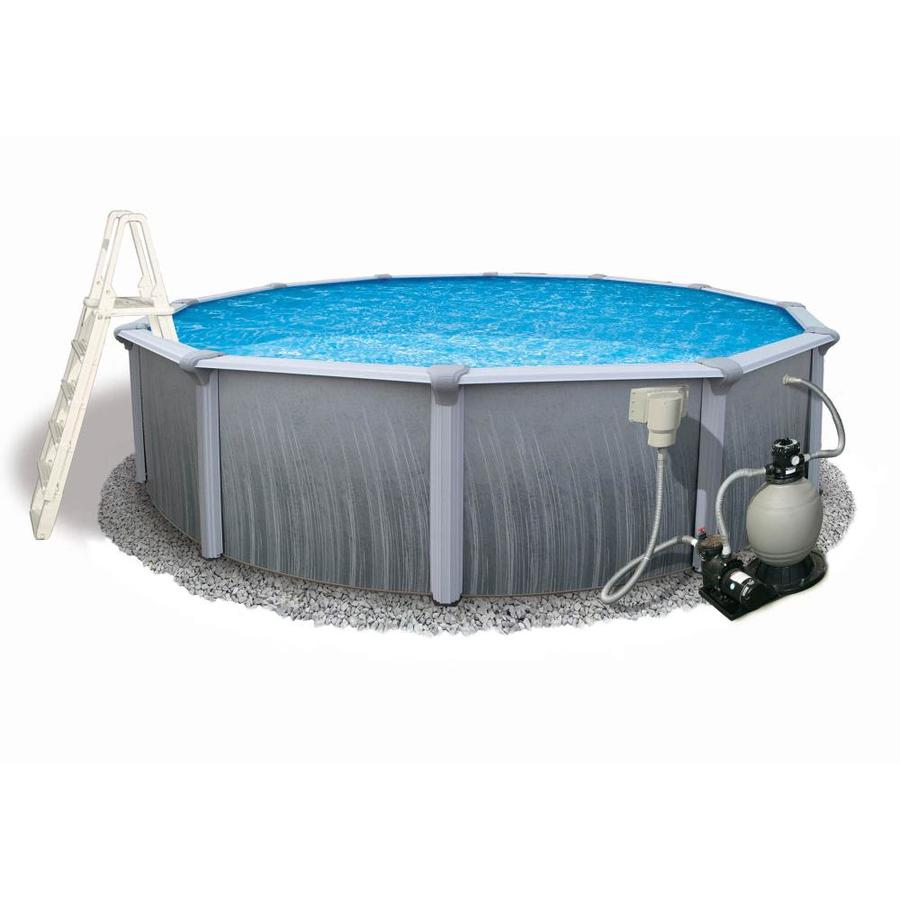 Shop blue wave martinique 24 ft x 24 ft x 52 in round for Above ground pools