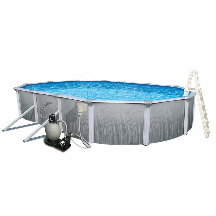 Shop blue wave martinique 24 ft x 12 ft x 52 in oval above for 12 ft garden pool