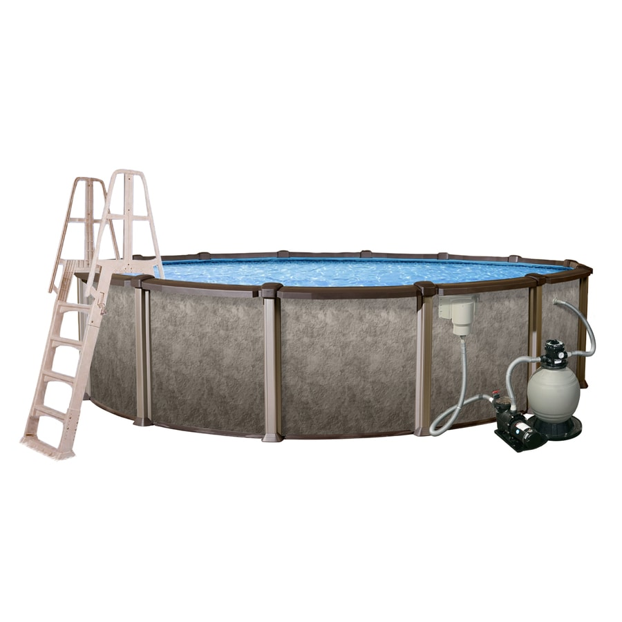 Shop blue wave riviera 30 ft x 15 ft x 54 in oval above for 30 ft garden pool