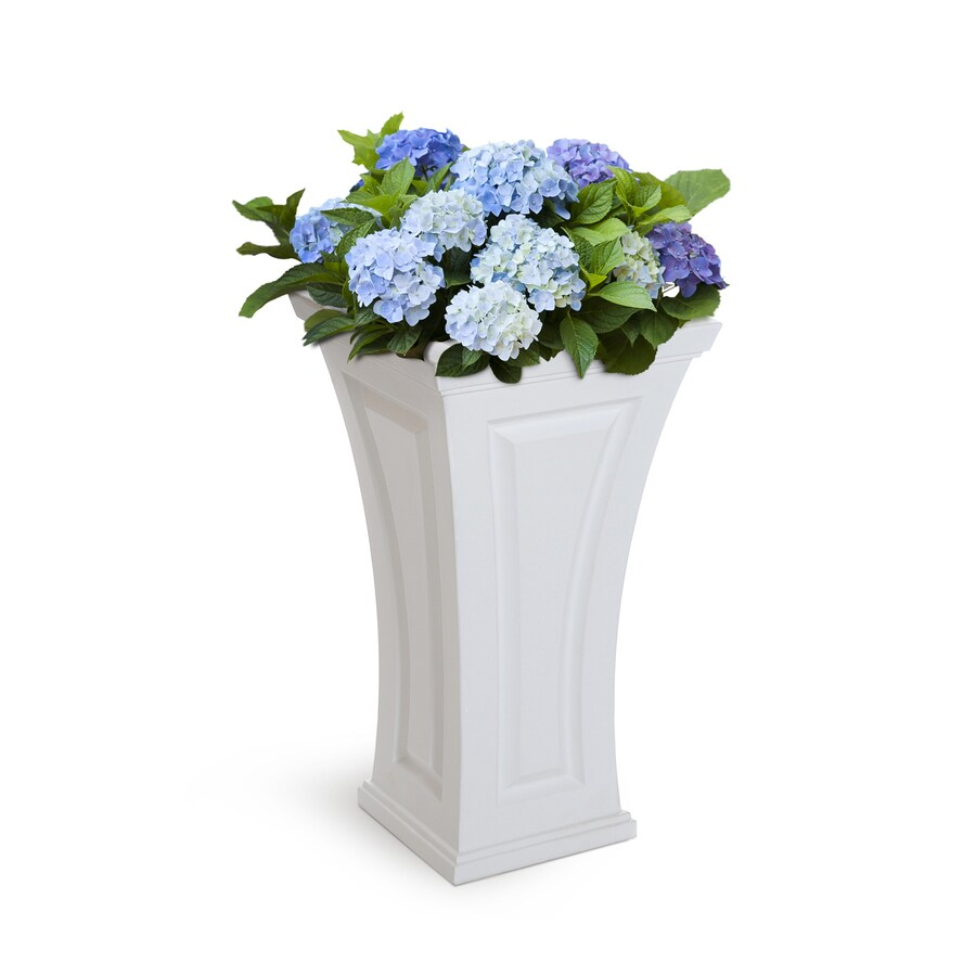 Mayne 16-in x 28.5-in White Resin Self Watering Planter