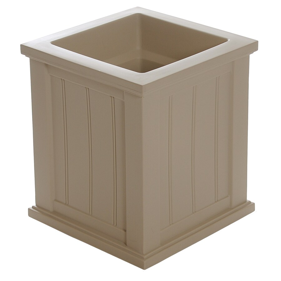 Mayne 16-in x 16-in Clay Resin Self Watering Square Planter