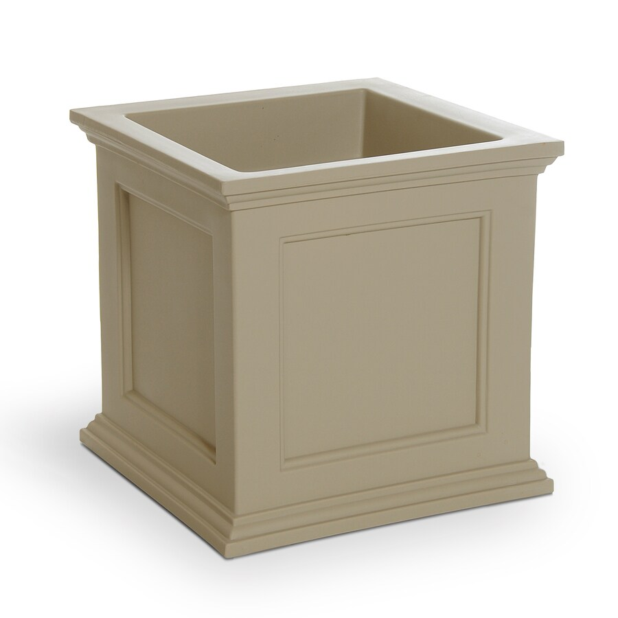 Mayne 20-in x 20-in Clay Resin Self Watering Square Planter
