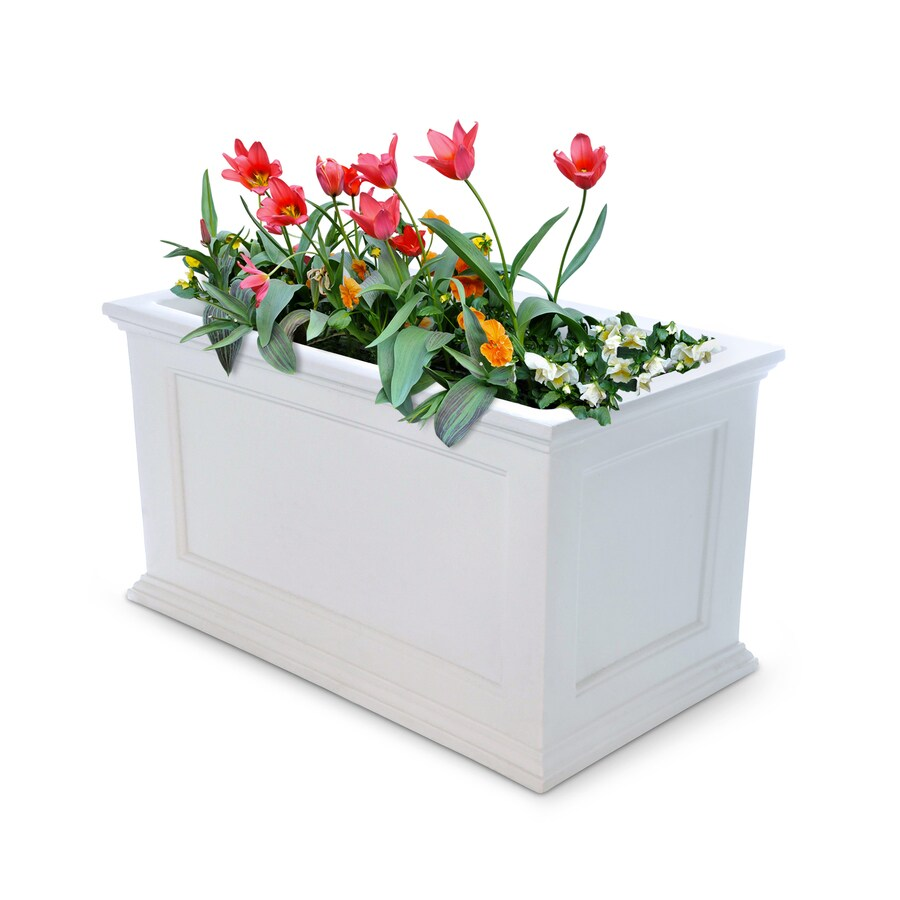 Mayne 36-in x 20-in White Resin Self Watering Rectangular Planter
