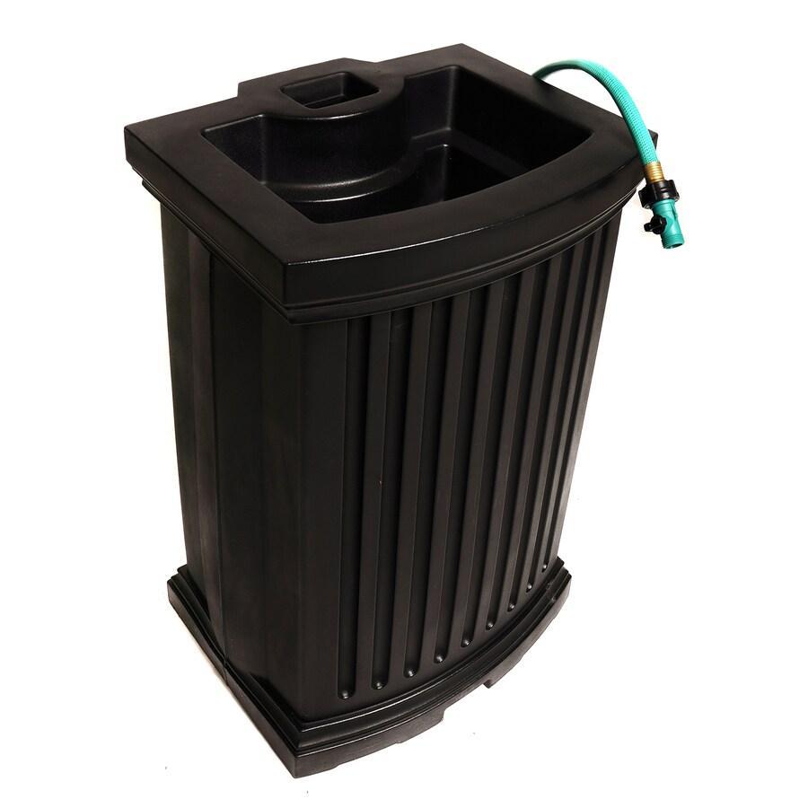 Mayne 40-Gallon Black Plastic Rain Barrel