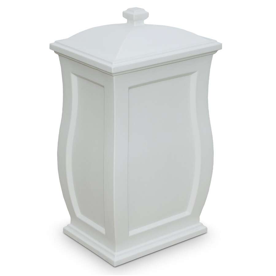 Shop Mayne Mansfield 22 Gallon White Plastic Outdoor Trash