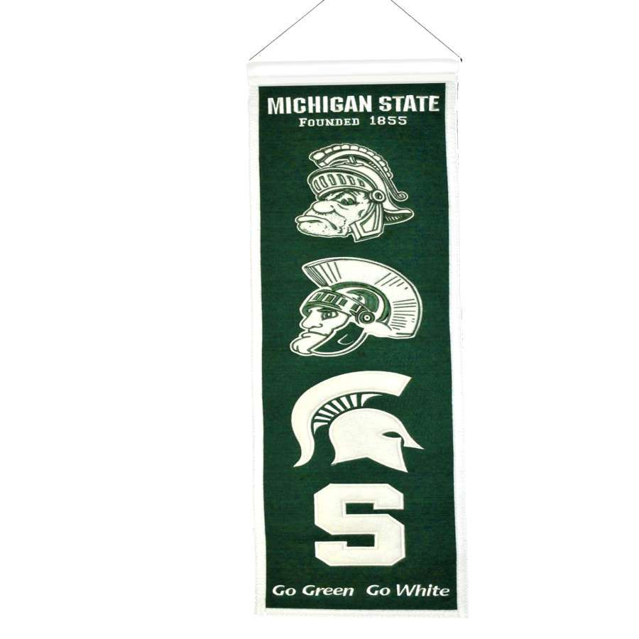 Winning Streak 0.66-ft W x 2.66-ft H Embroidered Michigan State Spartans Banner