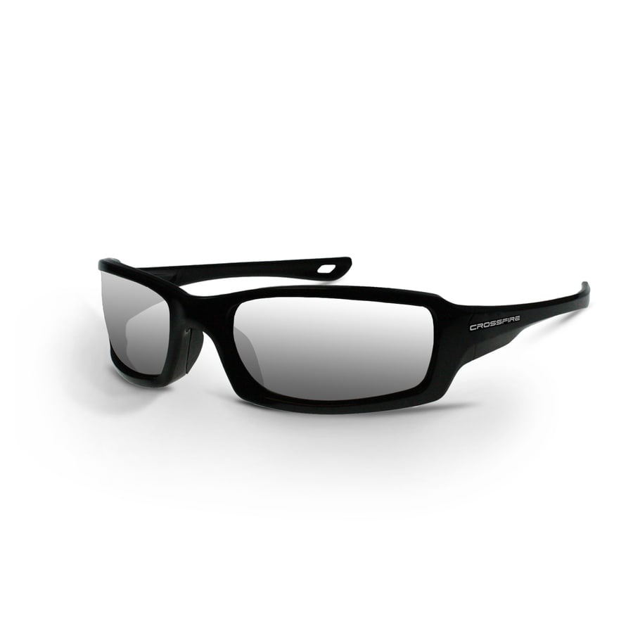 CrossFire Safety Glass Pearl Black Frame, Silver Mirror Lens